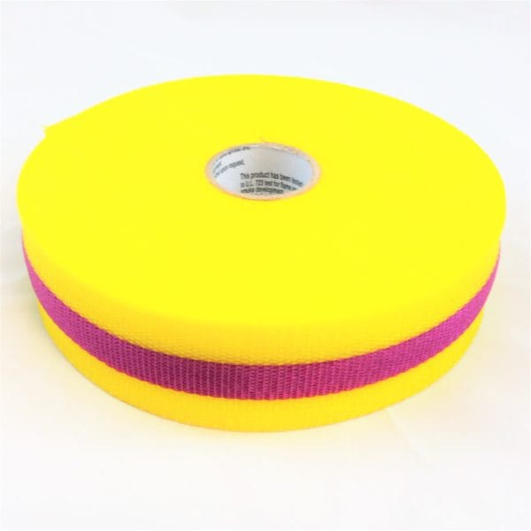 "Barricade tape, yellow & magenta woven nylon, 2"" x 150 ft. roll"