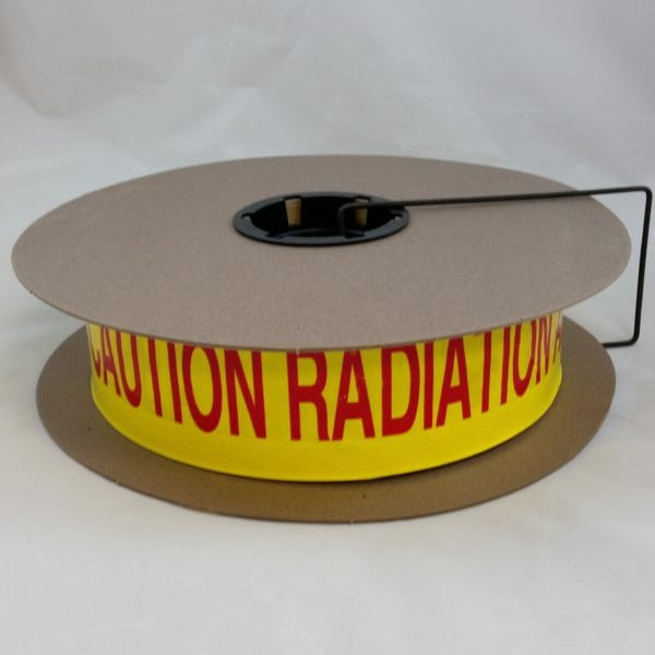 "Barricade tape, yellow with magenta Caution Radiation Area print, 3"" x 1000' roll"