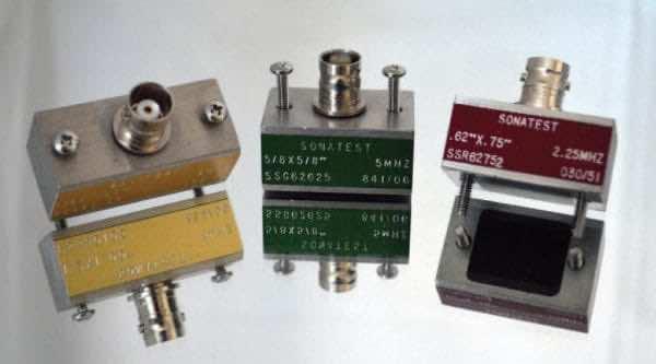 """Transducer, .5"""" x .5"""", 2.25 MHz, composite angle beam"""