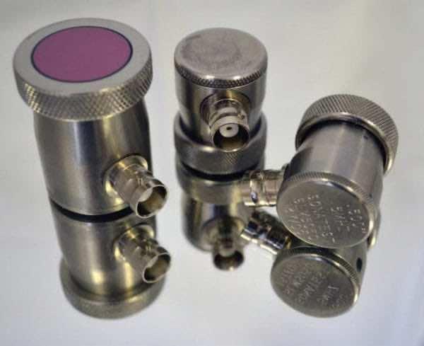 "Transducer, 1"" diameter, 2.25 MHz, ceramic faced contact, composite straight beam"